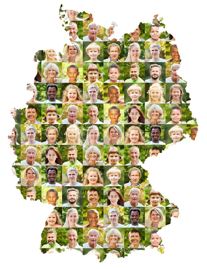 Collage extérieur de portrait sur la carte de l'Allemagne images stock