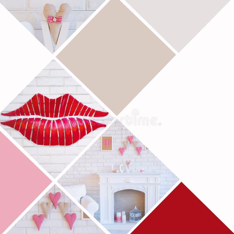 Collage för dagen för valentin` s med handgjord konst anmärker fotografering för bildbyråer