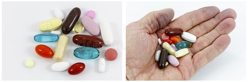 Collage för hög för hand för medicinpreventivpillertillägg royaltyfri bild