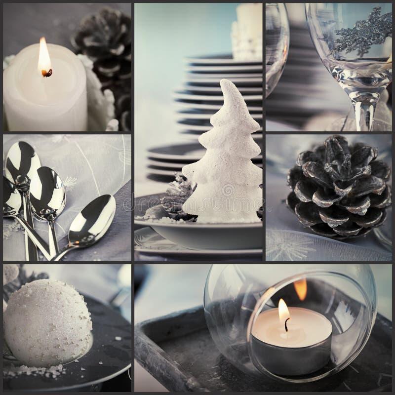 Collage för julmatställe fotografering för bildbyråer