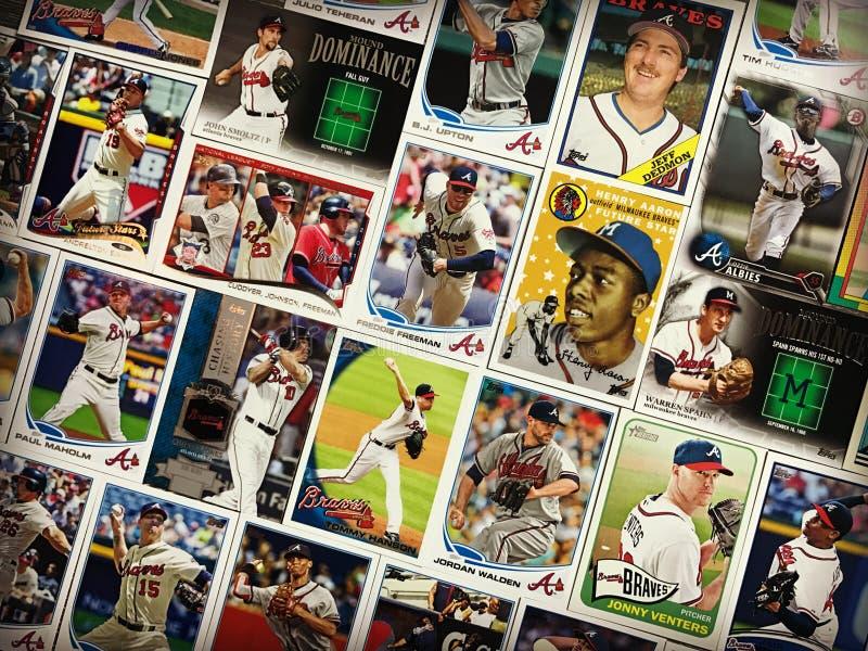 Collage för kort för handel för ström- och tappningAtlanta Bravesbaseball arkivfoton