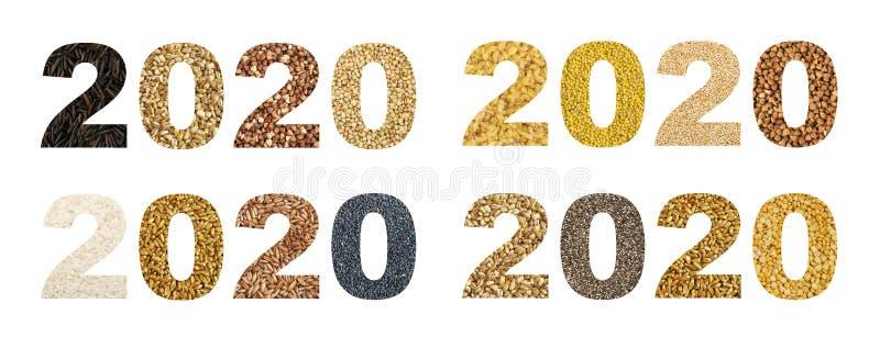 Collage för 2020 nummer med olika sädesslag och ätligt frö royaltyfria foton
