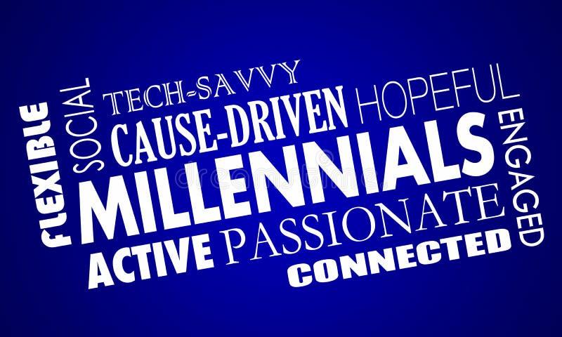 Collage för ord för kännetecken för kvaliteter för Millennials utveckling Y royaltyfri illustrationer