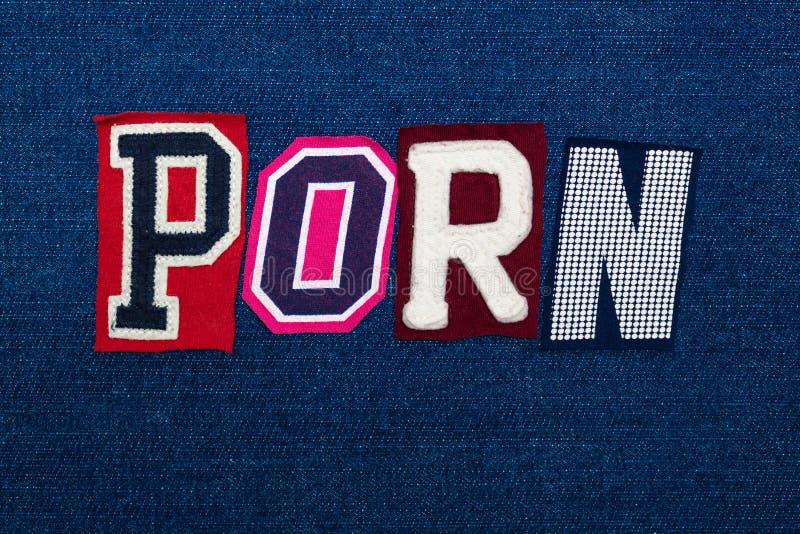 Collage för PORNOGRAFIordtext, mång- kulört tyg på blå grov bomullstvill, pornografi och böjelsebegrepp royaltyfria bilder