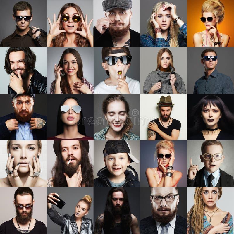 Collage för skönhet för Hipsterfolkmode royaltyfri fotografi