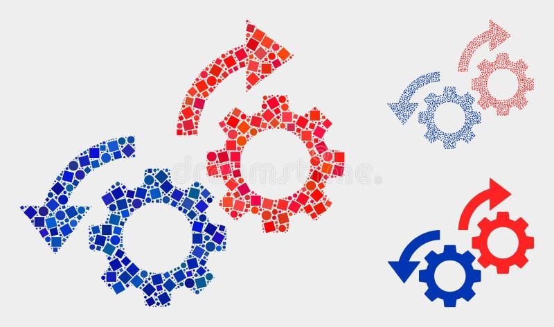 Collage för symbol för kugghjulrotationspilar av fyrkanter och cirklar vektor illustrationer