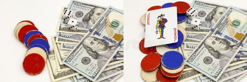 Collage för tärning för chiper för joker för dobblerikortpoker arkivbild