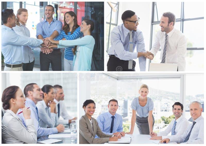 Collage för teamworkaffärsmöte arkivbild