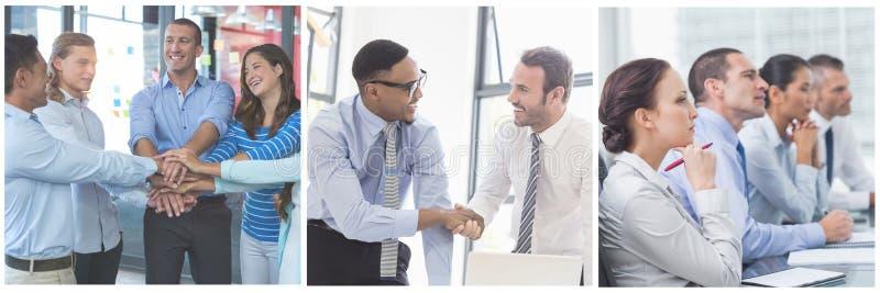 Collage för teamworkaffärsmöte arkivbilder