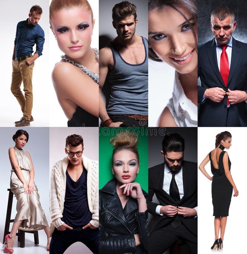 Collage för tio olik personer royaltyfri bild