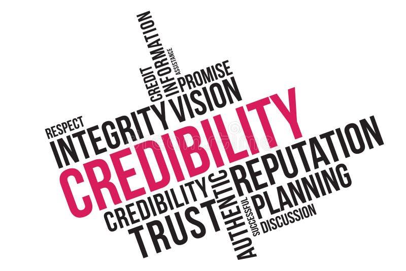 Collage för trovärdighetordmoln, affärsidébakgrund Trovärdighet-, anseende- och förtroendebegrepp stock illustrationer