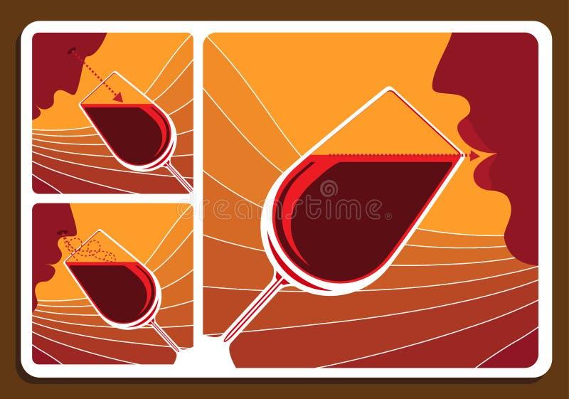 Collage för vinavsmakning royaltyfri illustrationer