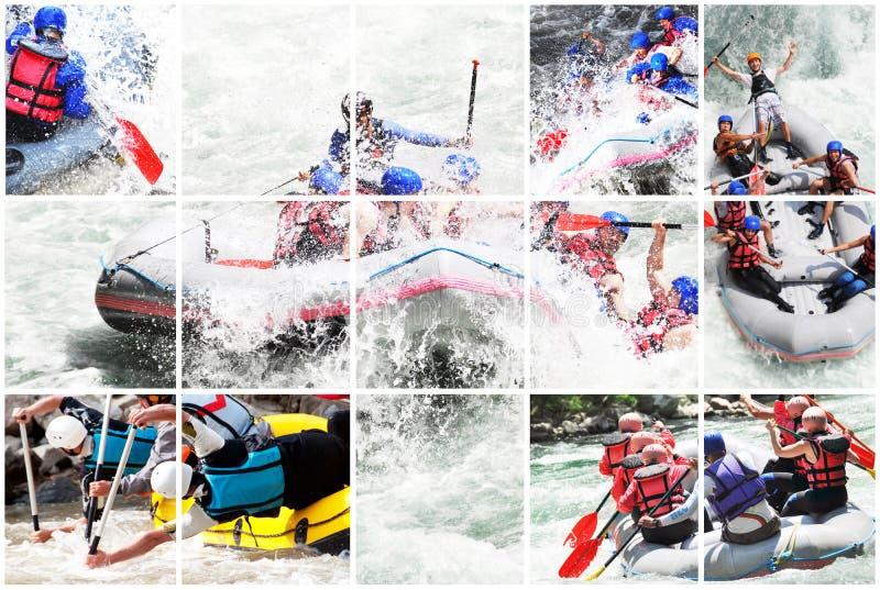 Collage för Whitewater rafting royaltyfri bild