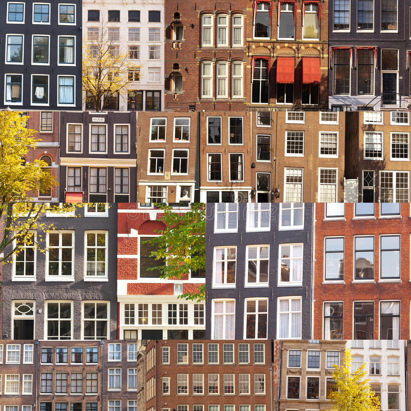 Collage of facades and windows. A collage of many typical building facades and windows from Amsterdam, The Netherlands royalty free stock photos