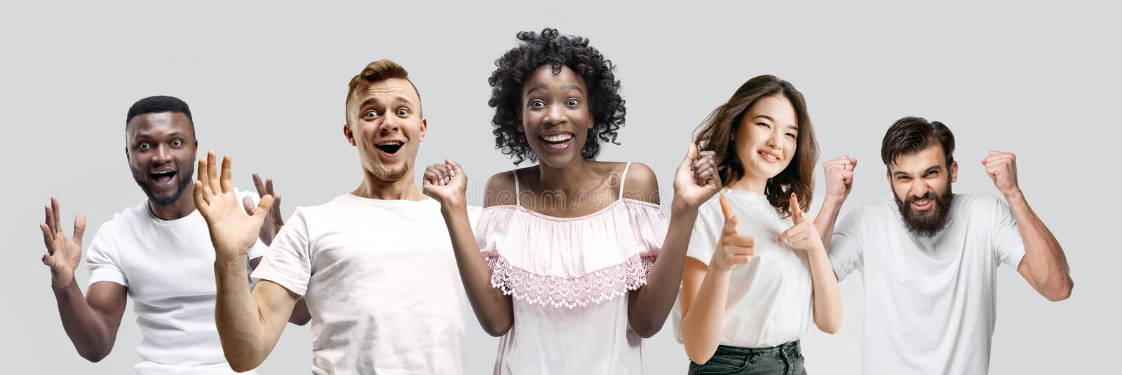 The collage of faces of surprised people on white backgrounds. stock image