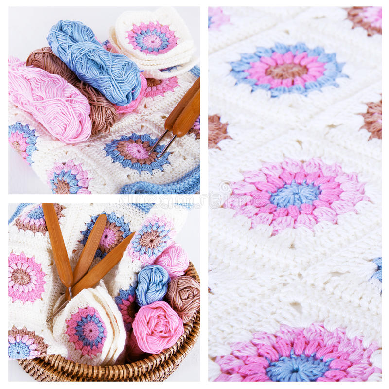Collage faisant du crochet dans des couleurs roses et bleues photo libre de droits