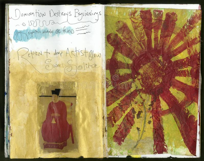 Collage fait main Art Journal de la sagesse folle de l'artiste de solitude photo libre de droits