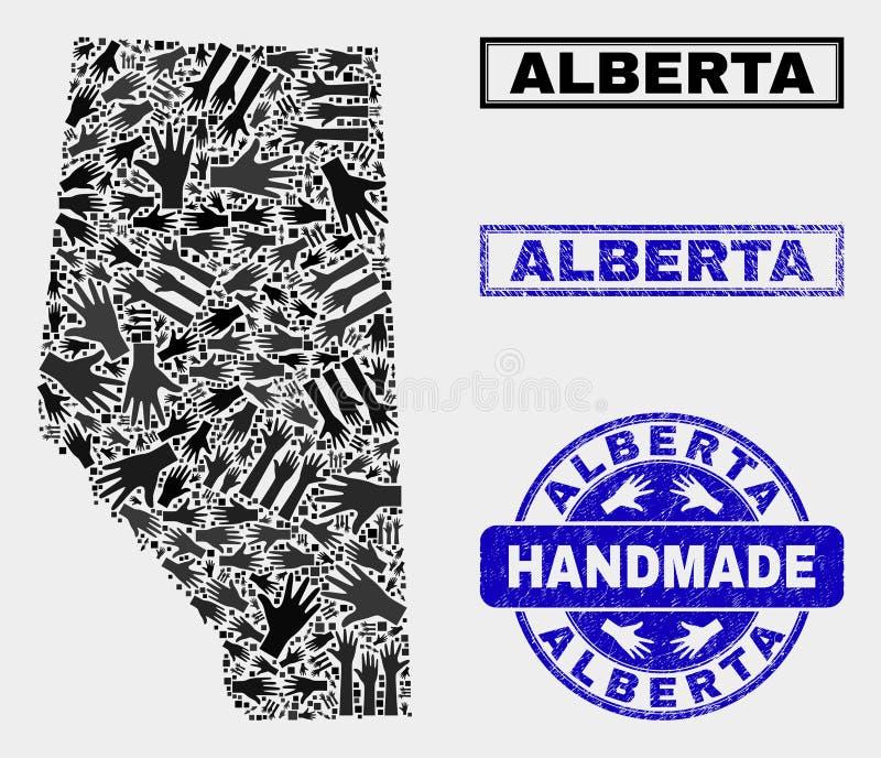 Collage fait main d'Alberta Province Map et de phoque grunge illustration libre de droits