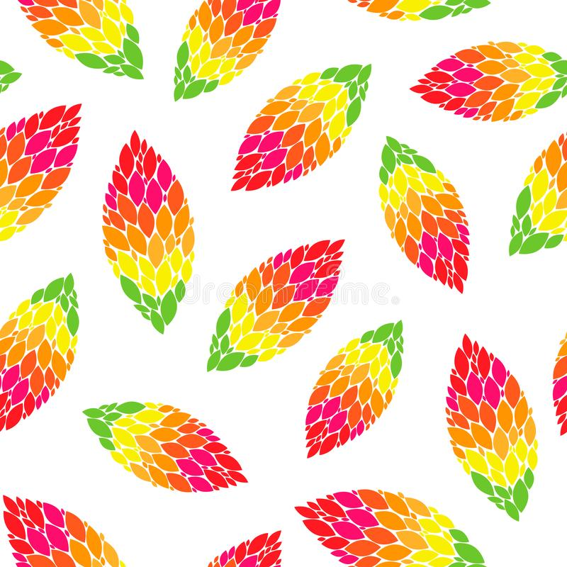 Collage fall leaves on white background seamless repeat pattern. Vector illustration. collage fall leaves on white background seamless repeat pattern. best for royalty free illustration