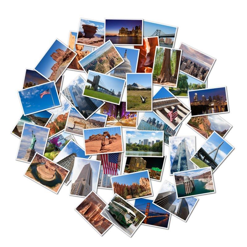 Collage famoso de la foto de las señales y de los paisajes de los E.E.U.U. fotografía de archivo libre de regalías