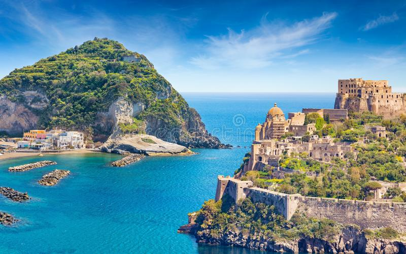 Collage with famous attractions of Ischia Island - Aragonese Castle, green mountain near fishing village Sant`Angelo and clear. Welcome to Ischia, Italy concept royalty free stock images