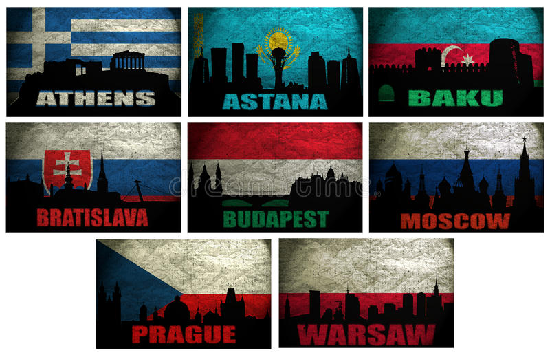 Collage of famous Eastern Europe cities stock illustration