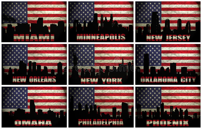 Collage of famous USA cities from M to P royalty free illustration