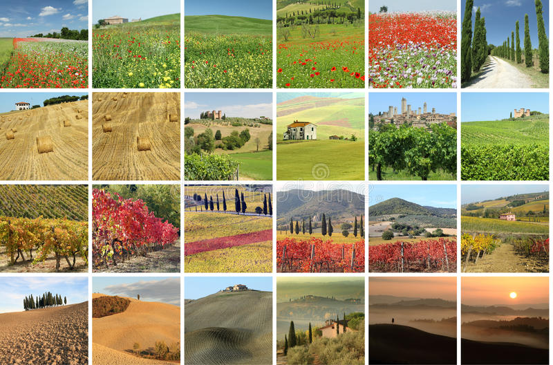 Collage with fantastic landscape of Tuscany stock photography