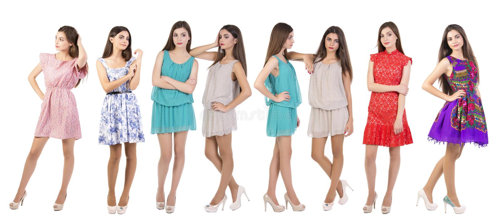 Collage Fashion models. Collage of fashion models wearing different outfits isolated on white