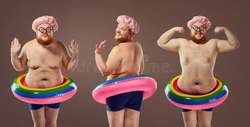 Collage fat funny man in a swimsuit with an inflatable circle. Humor, freak, comedian royalty free stock photography
