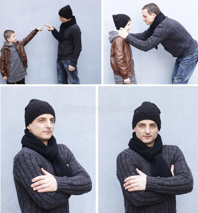 Collage, father and son stock photography