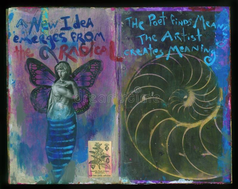 Collage fatto a mano Art Journal della saggezza pazza di un nuovo artista di idea illustrazione di stock