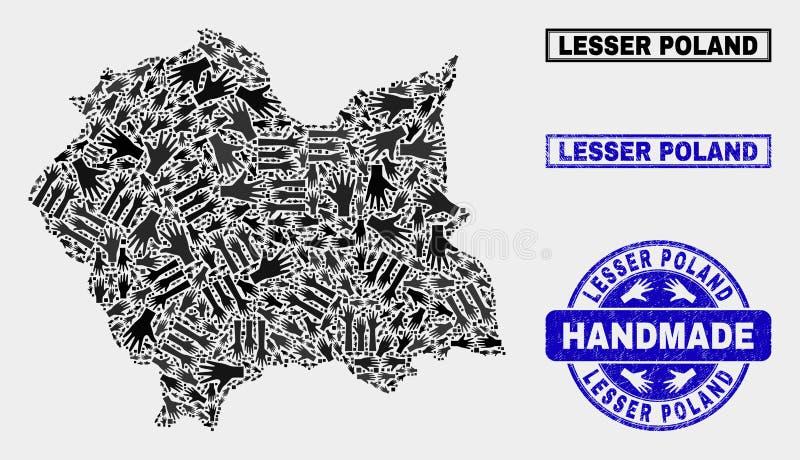 Collage fatto a mano di Lesser Poland Voivodeship Map e della guarnizione di lerciume illustrazione vettoriale