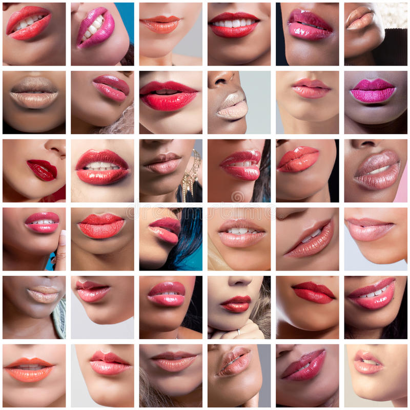 Collage of female lips images, ethnicities mix royalty free stock images