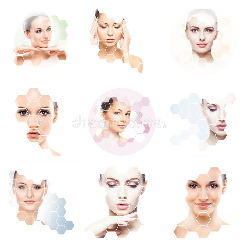 Collage of female portraits. Healthy faces of young women. Spa, face lifting, plastic surgery collage concept. Honeycomb mosaic stock images