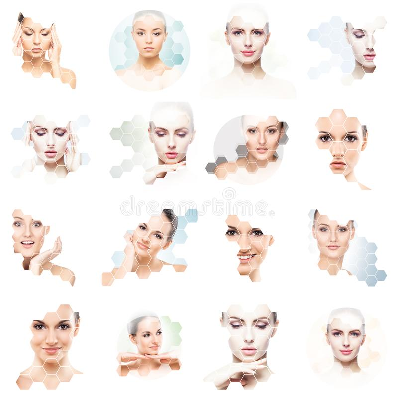 Collage of female portraits. Healthy faces of young women. Spa, face lifting, plastic surgery collage concept. royalty free stock photos