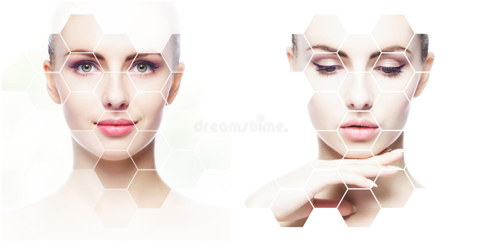 Collage of female portraits. Healthy faces of young women. Spa, face lifting, plastic surgery collage concept. Honeycomb mosaic stock photo