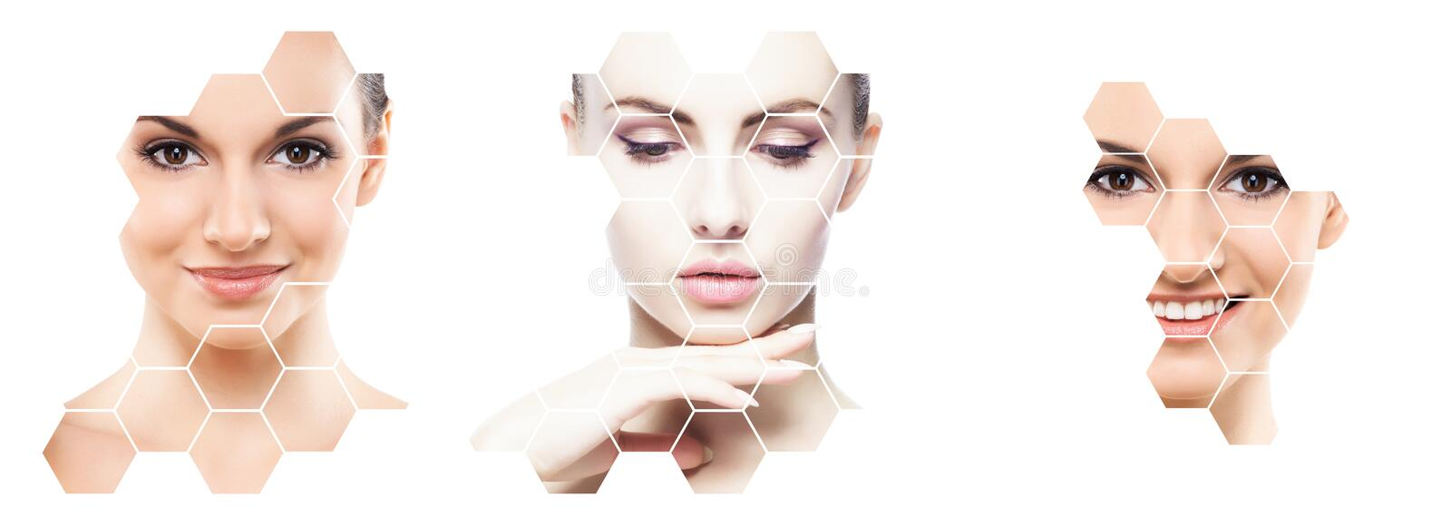Collage of female portraits. Healthy faces of young women. Spa, face lifting, plastic surgery collage concept. stock photography
