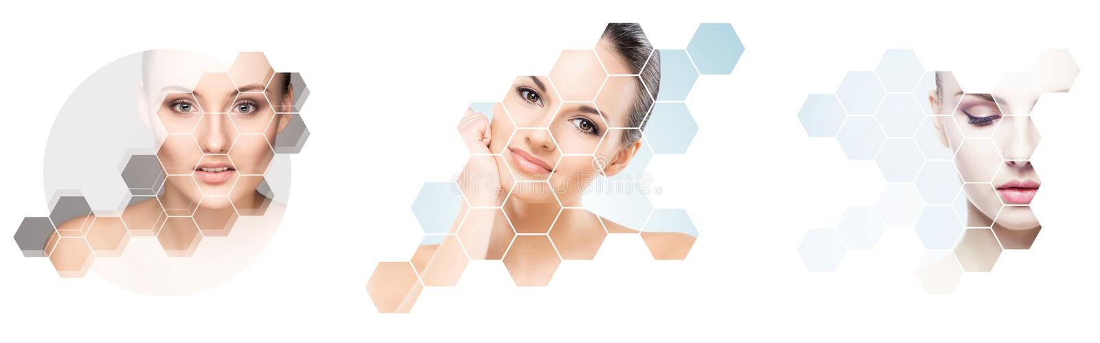 Collage of female portraits. Healthy faces of young women. Spa, face lifting, plastic surgery collage concept. stock illustration