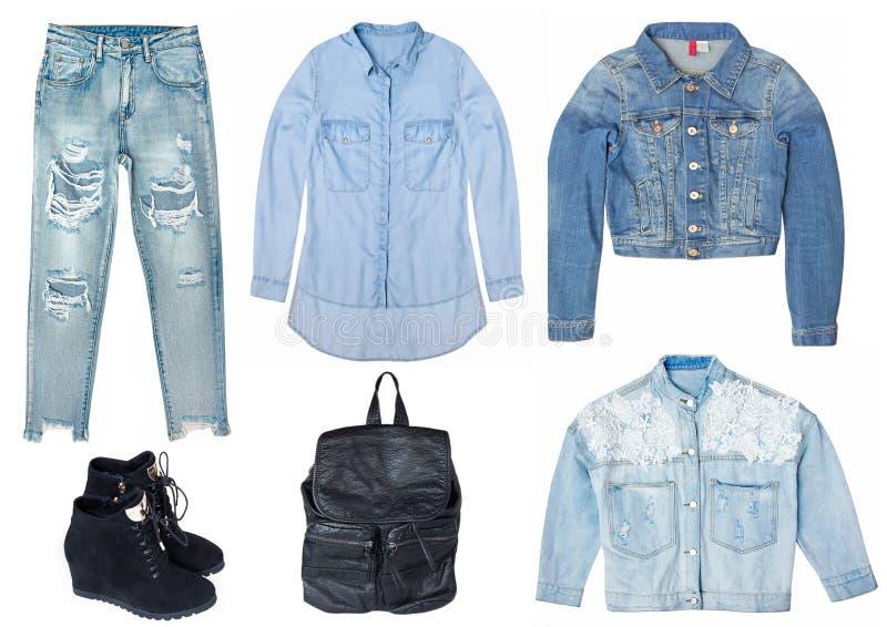Collage femelle avec des vêtements de jeans d'isolement sur le fond blanc photos stock