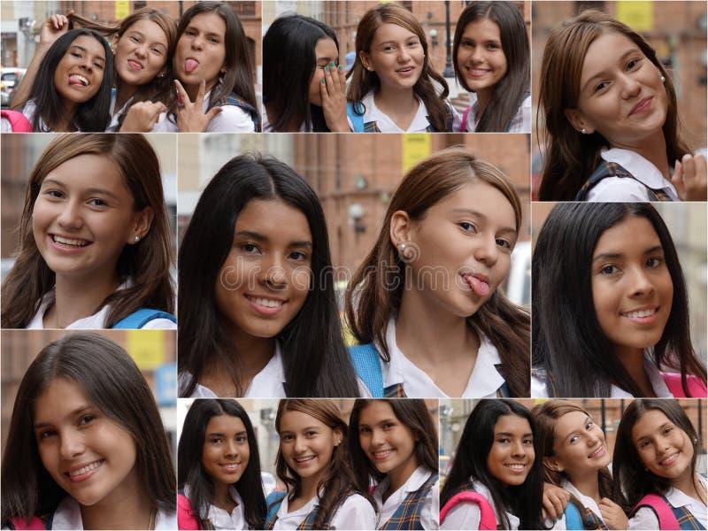 Collage femenino de los estudiantes de la High School secundaria fotografía de archivo libre de regalías