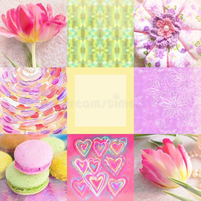 Collage festivo con el tulipán, las flores pintadas a mano, el juguete, los corazones, los movimientos del cepillo, los macarrone fotografía de archivo libre de regalías