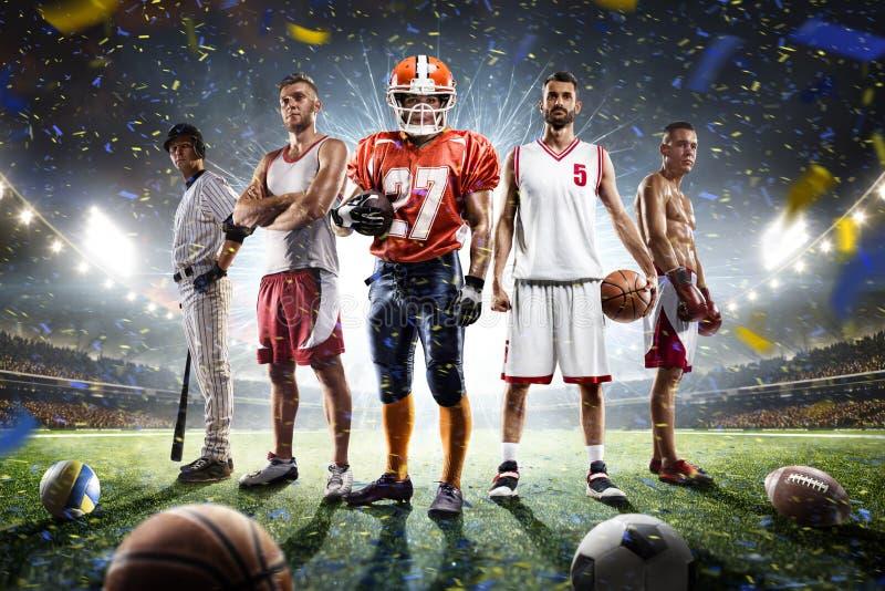 Collage fiero dei giocatori di multi sport sulla grande arena fotografia stock libera da diritti
