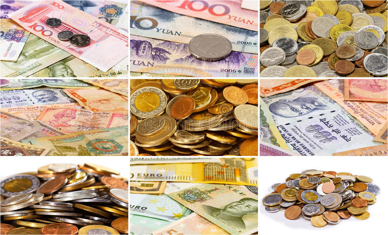 Collage (fije) de muchos diversos billetes de banco asiáticos de la moneda y de c foto de archivo libre de regalías