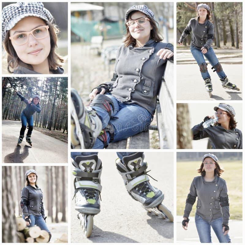 Collage fille heureuse de patinage de rouleau de belle photographie stock libre de droits