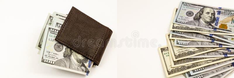 Collage financiero del efectivo de la cartera del dinero de los ahorros imagen de archivo
