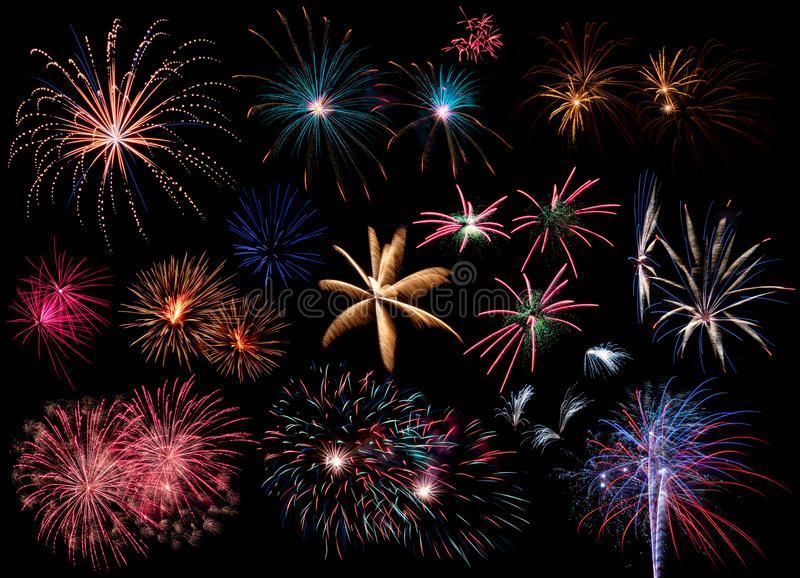 Collage of Fireworks stock image