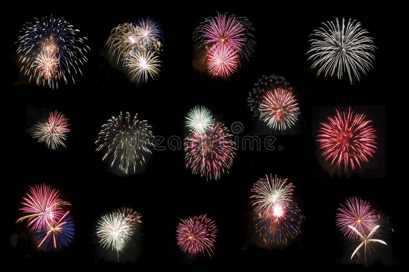 Collage of Fireworks on Pitch Black Sky royalty free stock images