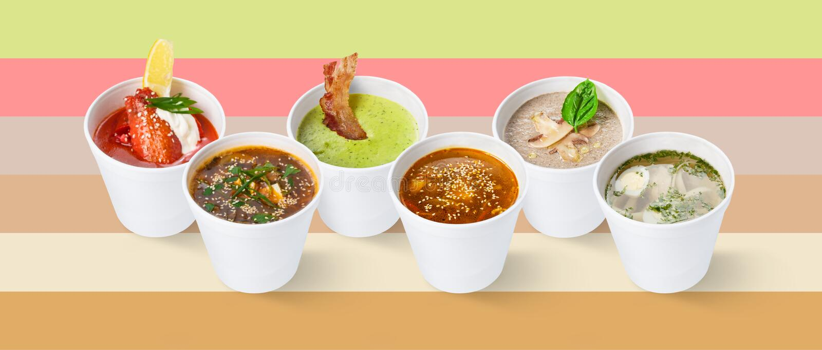 Set of various restaurant soups on colorful background. Collage of five different restaurant soups in cups, isolated on colorful background, cutout for menu royalty free stock photos