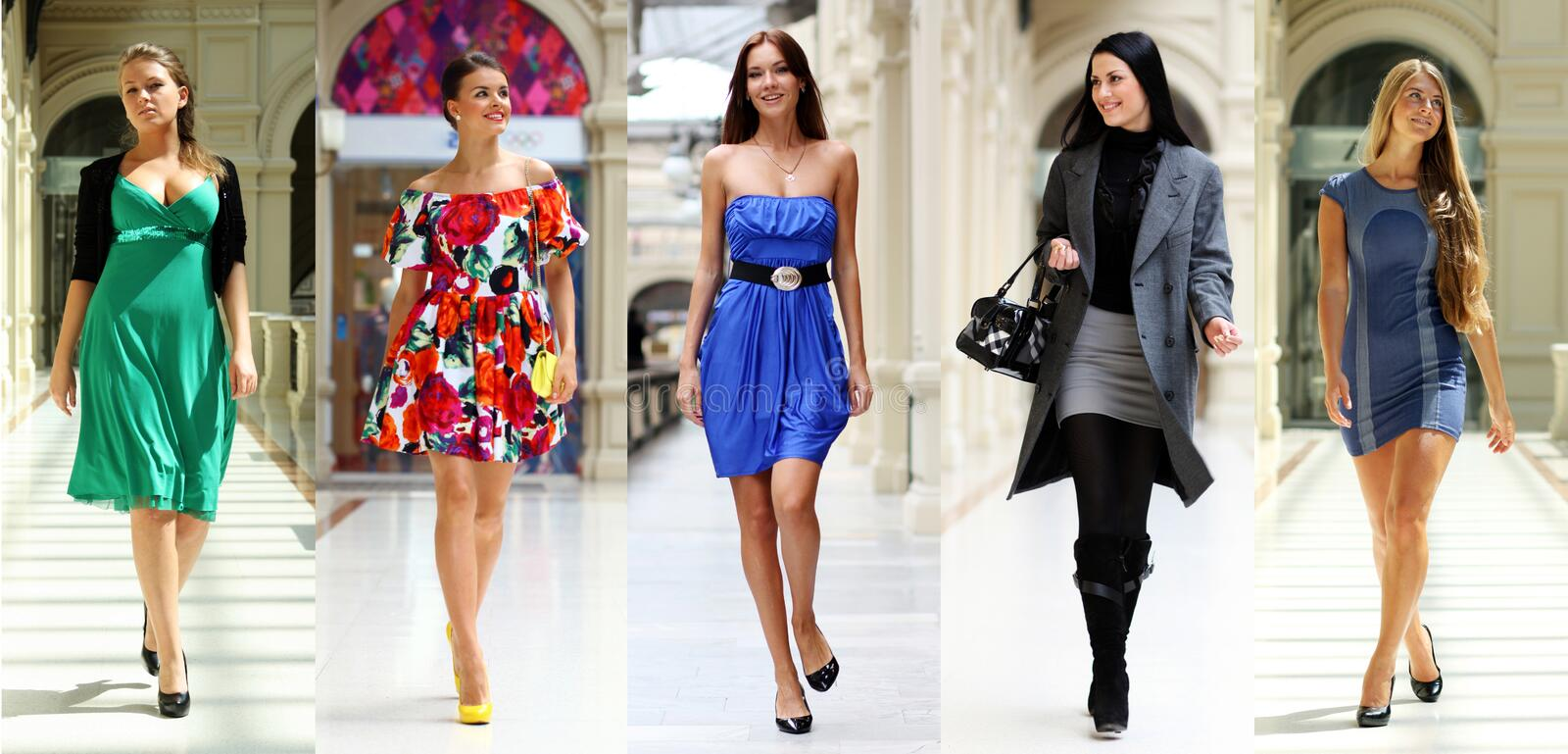 Collage five fashion young women. In shop royalty free stock images